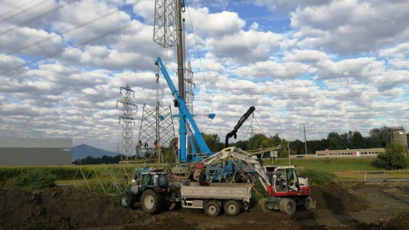 Spektakuläre Aktion bei Emspark Hohenems: Strommasten wurden heute erhöht