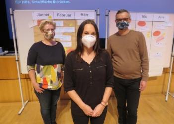 "Organisations-Team: Kriemhild Büchel-Kapeller, Raphaela Reheis (""zämma leaba"") und Martin Herburger"