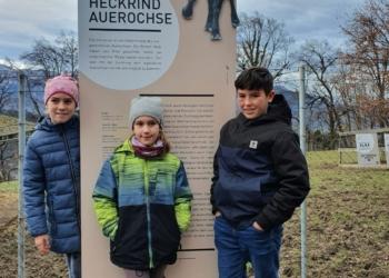 Klara, Linda und Martin beim Auerochsengehege © Wildpark Feldkirch