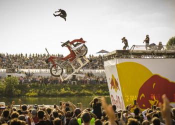 Winners DIE FLUEGELMUETTER perform during the Red Bull Flugtag 2021 in Vienna, Austria on September 26, 2021